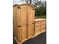 Solid pine wardrobe and large chest of drawers with possible delivery