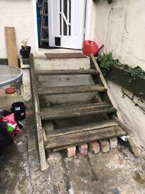 Old wooden decking steps - free