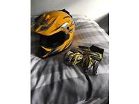 Motorcross helmet and gloves size small