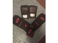 Focus sparring gloves and shin pads