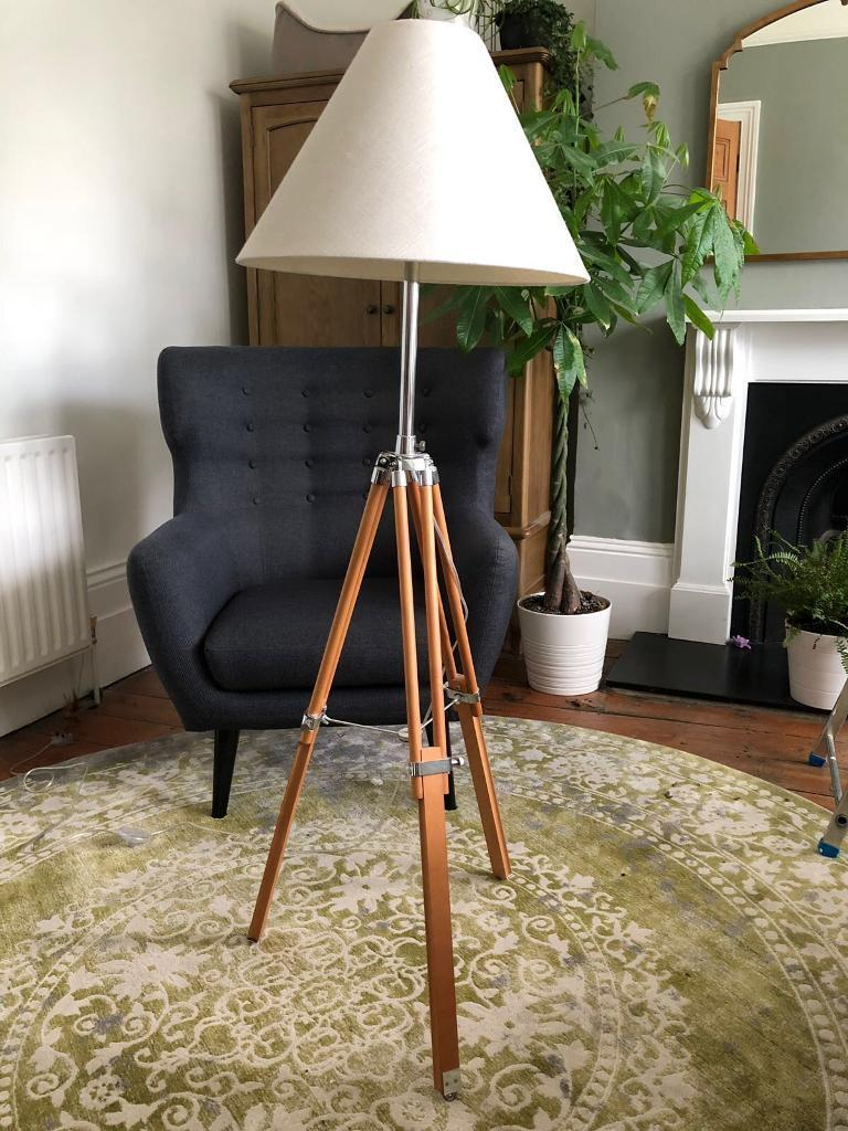 Made navy tripod floor lamp natural wood in lewisham made navy tripod floor lamp natural wood mozeypictures Choice Image