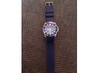 Mens Guess Watch with Blue Rubber Strap