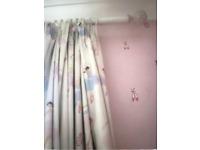 Laura Ashley floor length blackout curtains including pole and finial