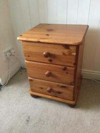 Pine dressing table/desk and bedside table