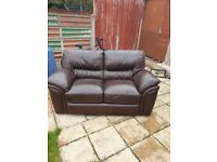 2 and 3 seater brown leather reclining sofas