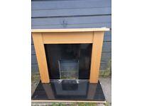 Pine fireplace & black granite hearth