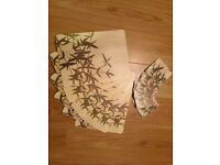 Bamboo Print Placemats / Table Mats and Coasters (set of 6)