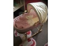 Baby girls Clair de lune Moses basket and rocking stand