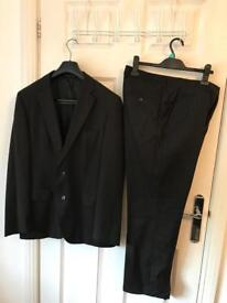 Boss, men's, pin-striped, two piece, black suit