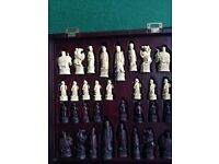LARGE CASED CHESS SET CHINESE STYLE WITH CARVED FITTED CASE