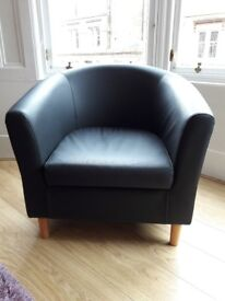 Black Leather look Tub Chair
