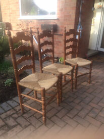 3 Pine dining chairs with seagrass seats