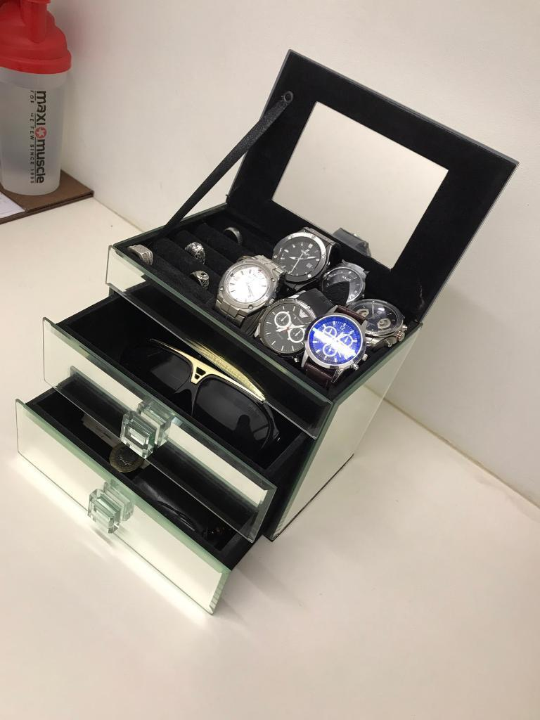 Mirror Style Jewellery Box - Fits Rings, Watches, Wallets, Galsses