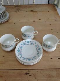 Set of 3 Cup and Saucers with Sugar Bowl