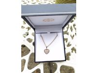 9ct gold and 'diamond' heart necklace