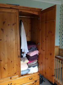 Pine wardrobe and matching tallboy