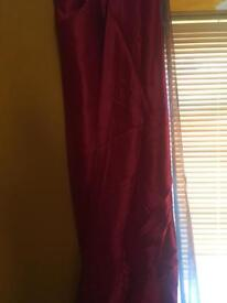 Pair of Red Ring Top Curtains