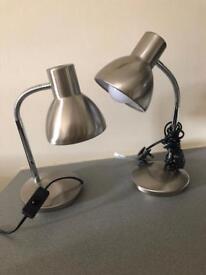 John Lewis Bedside Table Lamps Silver Brushed Metal - Pair