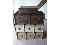 Set of 3 vintage trunks & 1 picnic set