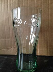 6 x Green Tinted Coca-Cola Half Pint Glass