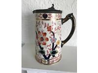 Old Ceramic Jug With Pewter Lid