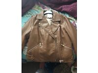 River island tan leather jacket size 12