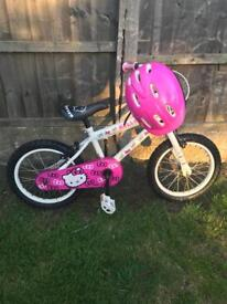 """HELLO KITTY GIRLS 16"""" BIKE WITH HELMET, good used condition"""
