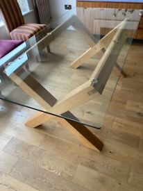 Glass & Oak Dining Table