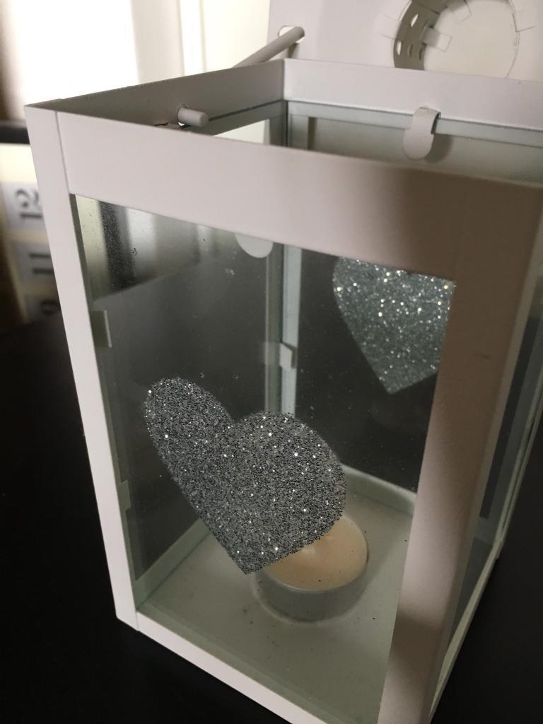 Small metal and glass tealight lantern