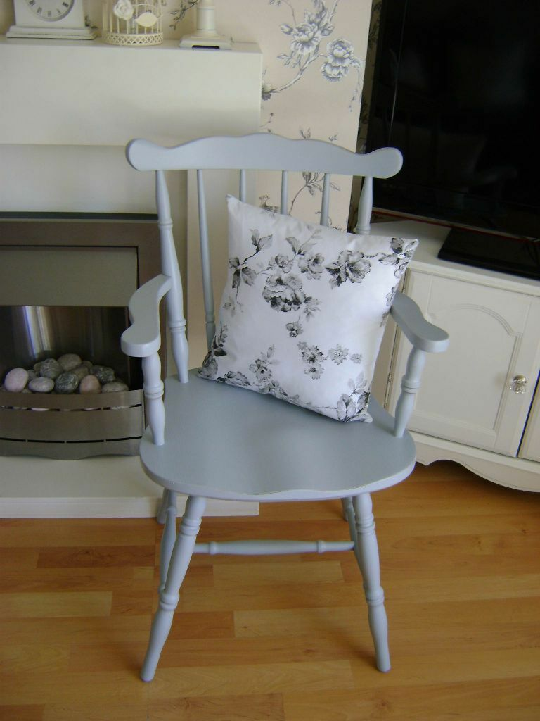 Shabby Chic Chair Seat Pads : LOVELY VINTAGE SHABBY CHIC GREY COUNTRY PINE CARVER CHAIR WITH GREY FLORAL CUSHION in ...
