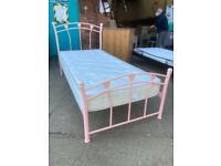 Pink metal single bed set with mattress