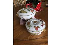 Royal Worcester tableware in Evesham pattern large and medium round lidded tureens