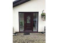 Mahogany upvc 3 piece patio centre sliding door 3600w x 2100h £495 also front door with 2 side panel