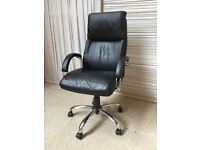 Black Leather Directors Swivel Chair (Chrome Details) On Wheels. Height Adjustable.