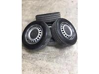 """New VW Transporter 16"""" steel wheels with NEW Tyres camper t5 t6"""