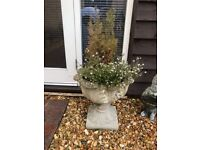 Two Weathered Stone Garden Planters