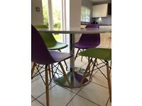 Dwell high gloss white table & 4 chairs