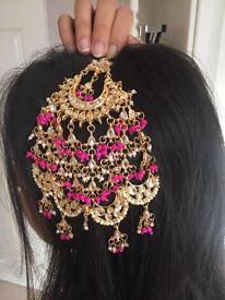 Gold Mughal passa with kundan and pink pearls