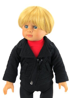 """Black Zipper Quilted Jacket Fits American Boy Girl 18"""" Doll Clothes"""