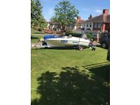 "Simms Super V 15""0' Speedboat with trailer and heavy duty covers"