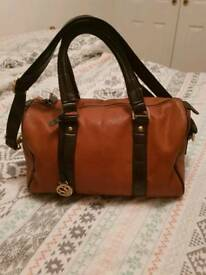 Clarke's tan and brown sift leather handbag