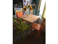 Table & 4 Coloured painted Chairs