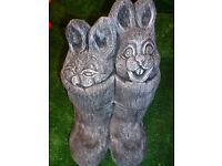 fibreglass support and latex mould rabbits in wellies