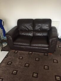 3 and 2 and foot stool brown leather