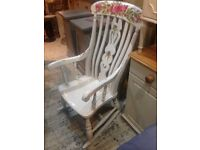 ROCKING CHAIR SOLID PINE PAINTED WHITE WITH RED ROSES