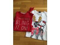 2 x girl's Christmas Tops (9-10yrs)