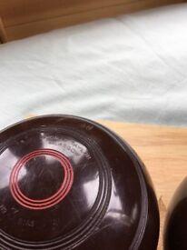 "Set of 2 size 4/16"" no3 bias brown bowls"