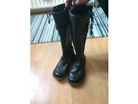 Dr Martens Black Calf Length Zipped,Side Laced Boots (New)-Size 6