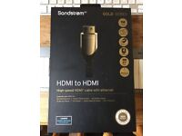 Sandstrom Gold Series - High speed HDMI to HDMI cable, 1 meter