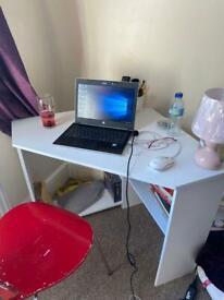 White Corner Office Desk with shelves